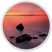 Kintyre Rocky Sunset 2 Round Beach Towel