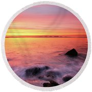 Kintyre Rocky Sunset 3 Round Beach Towel