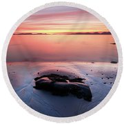 Round Beach Towel featuring the photograph Kintyre Rocky Sunset 5 by Grant Glendinning