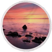 Kintyre Rocky Sunset Round Beach Towel
