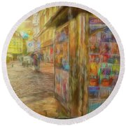 Kiosk - Prague Street Scene Round Beach Towel