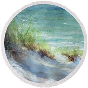 Round Beach Towel featuring the painting Kirk County Morning by Sandra Strohschein