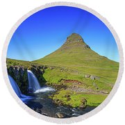 Round Beach Towel featuring the photograph Kirkjufell Iceland by Edward Fielding