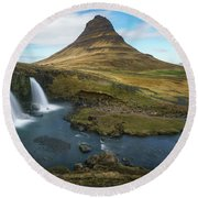 Round Beach Towel featuring the photograph Kirkjufell Waterfall by James Udall