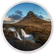 Kirkjufellsfoss Waterfall And Kirkjufell Mountain, Iceland Round Beach Towel