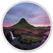 Kirkjufellsfoss Waterfalls Iceland Portrait Version Round Beach Towel