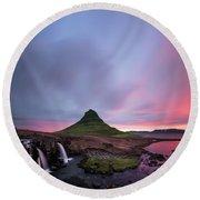 Kirkjufellsfoss Waterfalls Iceland Square Version Round Beach Towel