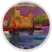 Kisimul Castle And Vatersay Round Beach Towel by Peter Graham