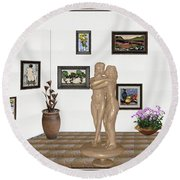 Round Beach Towel featuring the mixed media Kiss 1 by Pemaro