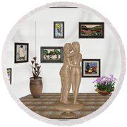Round Beach Towel featuring the mixed media Kiss 3 by Pemaro