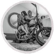 Round Beach Towel featuring the photograph Kiss Me Now- by JD Mims