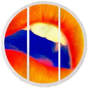 Round Beach Towel featuring the photograph Kiss Me-triptych by JD Mims