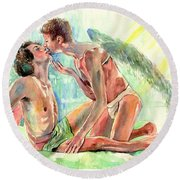 Kiss Of The Angel Round Beach Towel