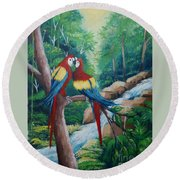 Kiss On The Forest Round Beach Towel