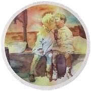 Kissing Cousins Round Beach Towel
