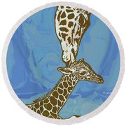 Kissing - Giraffe Stylised Pop Art Poster Round Beach Towel