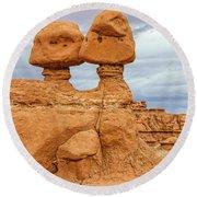 Kissing Rock Round Beach Towel