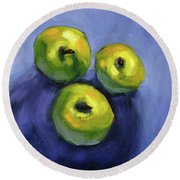 Round Beach Towel featuring the painting Kitchen Pears Still Life by Nancy Merkle