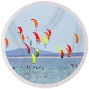 Kite Boarding At La Ventana Round Beach Towel