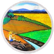 Round Beach Towel featuring the painting Kite by Cyril Maza