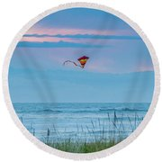 Kite In The Air At Sunset Round Beach Towel