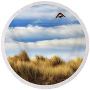 Round Beach Towel featuring the photograph Kite Over The Hill by James Eddy
