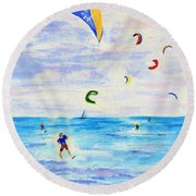 Kite Surfer Round Beach Towel