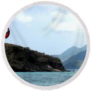 Kite Surfer St Kitts Round Beach Towel by Ian  MacDonald