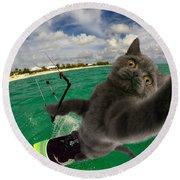 Kite Surfing Cat Selfie Round Beach Towel