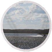 Round Beach Towel featuring the photograph Kiteboarding by Miroslava Jurcik