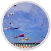 Kites At The Flagler Beach Pier Round Beach Towel