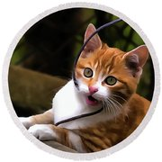 Kitten Portrait Player Round Beach Towel