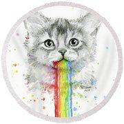 Kitten Puking Rainbows Round Beach Towel