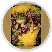 Kittens With Violets Victorian Print Round Beach Towel