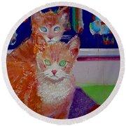 Kittens With Wild Wallpaper Round Beach Towel