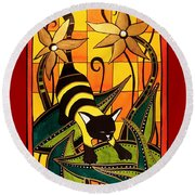 Round Beach Towel featuring the painting Kitty Bee - Cat Art By Dora Hathazi Mendes by Dora Hathazi Mendes