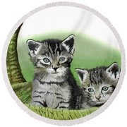 Round Beach Towel featuring the painting Kitty Caddy by Ferrel Cordle