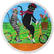 Kitty Cat Outing Round Beach Towel