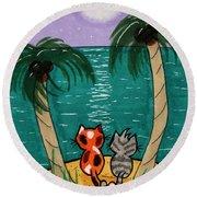 Kitty Cat Paradise Round Beach Towel