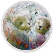 Kitty Hearts Round Beach Towel