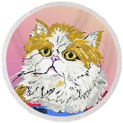 Kitty In Tuna Can Round Beach Towel