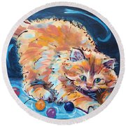 Kitty Keepsies Round Beach Towel