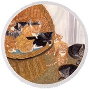 Kitty Litter I Round Beach Towel