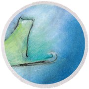 Kitty Reflects Round Beach Towel