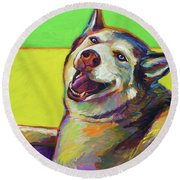 Round Beach Towel featuring the painting Kitty, The Husky by Robert Phelps