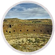 Round Beach Towel featuring the photograph Kiva View Chaco Canyon by Kurt Van Wagner