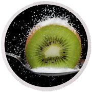 Kiwi Fruit Cut In Half On A Spoon With Sugar Round Beach Towel