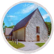Round Beach Towel featuring the photograph Kjaerrbo Church  by Leif Sohlman