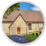 Round Beach Towel featuring the photograph Kjaerrbo Church South.  by Leif Sohlman