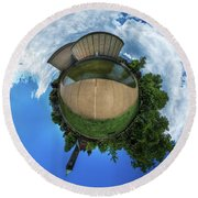 Round Beach Towel featuring the photograph Kleinhans Music Hall At  Symphony Circle - Tiny Planet by Chris Bordeleau